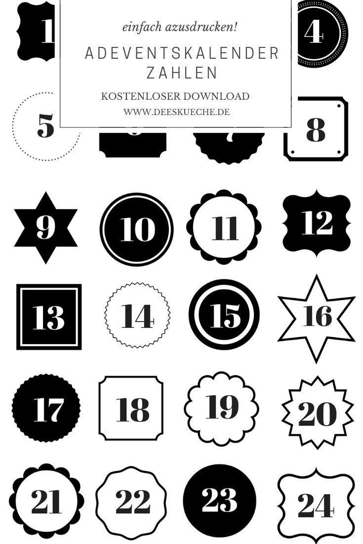 Adventskalenderzahlen ausdrucken! ganz einfach kostenlos downloaden #adventskalender #DIY #basteln #adventskalenderzahlen