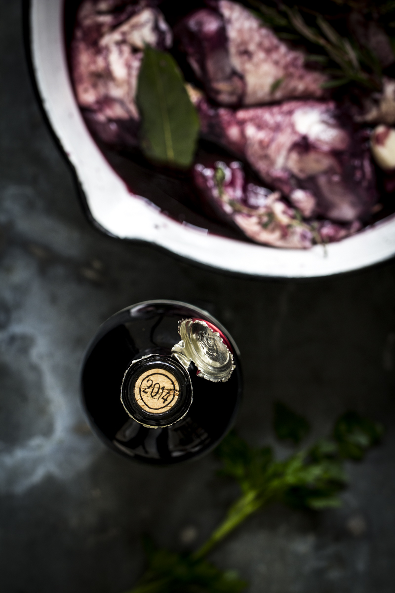 Rotwein zu Coq au vin