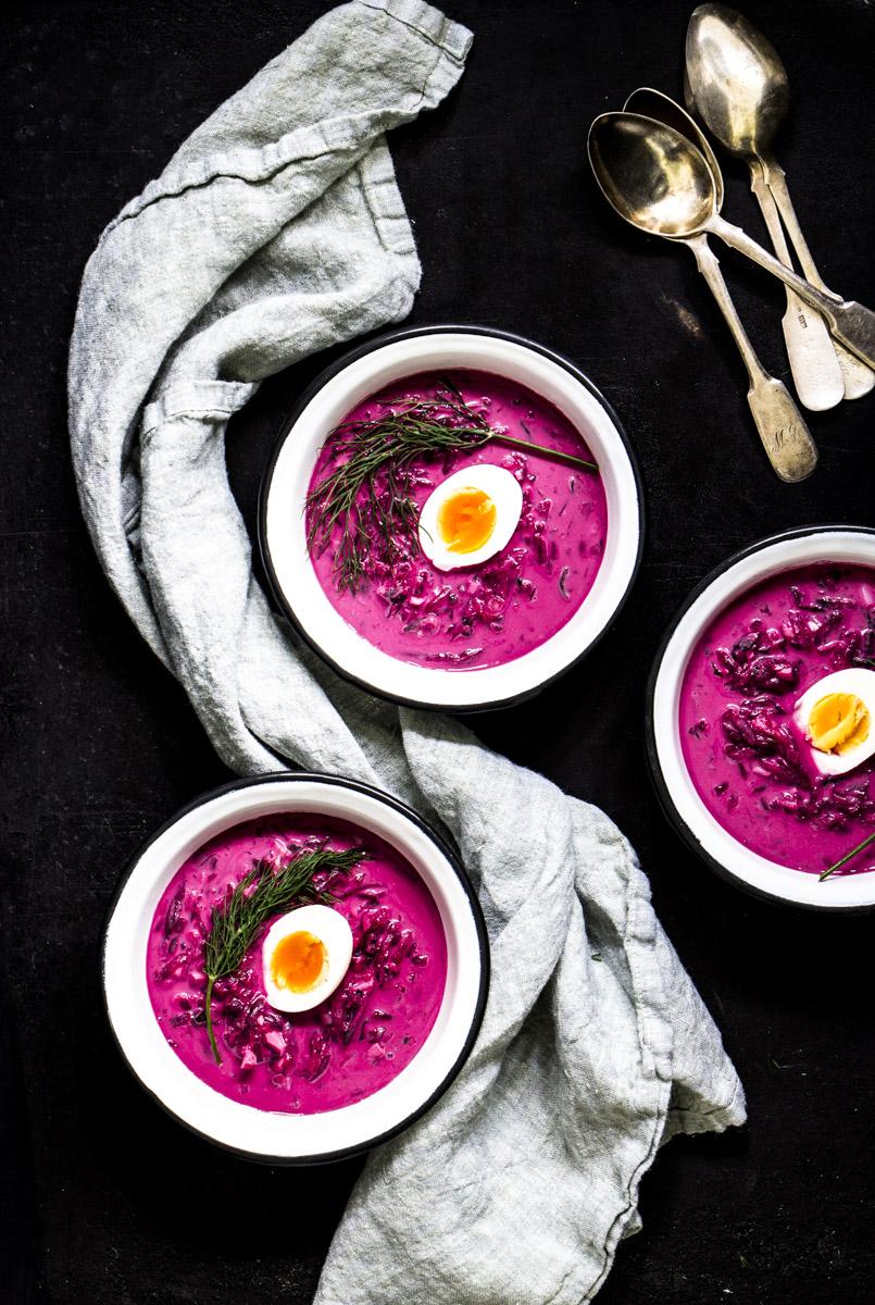 Saltibarsciai: kalte litauische Rote-Bete Suppe
