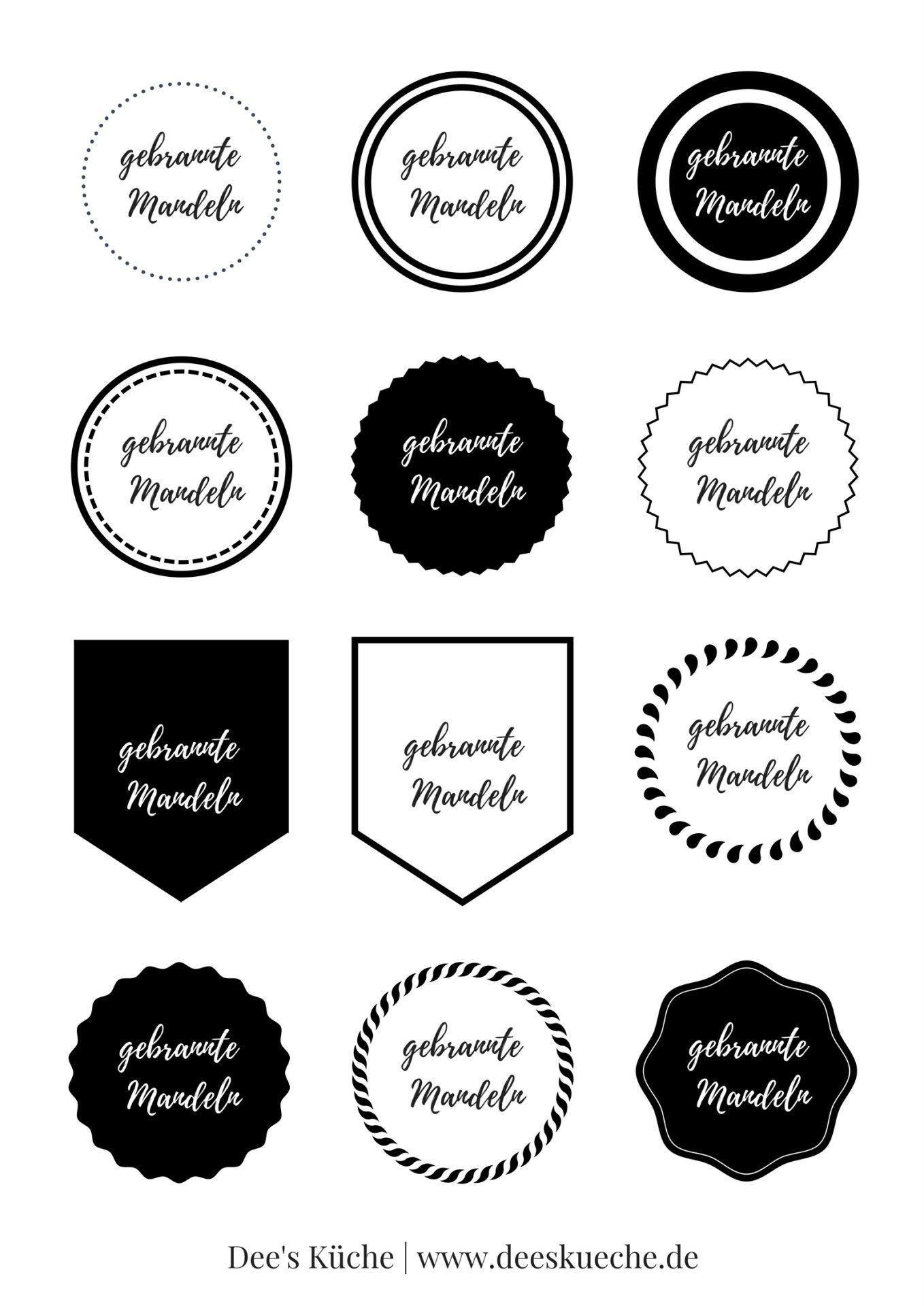 Gebrannte Mandeln: kostenlos Etiketten für ein schönes Geschenk aus der Küche kostenlos runterladen