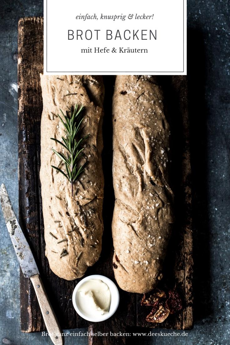Brot backen mit Hefe und Kräutern - so einfach geht's #rezept #brot #brotbacken #backen #frühstück #hefe #backenmithefe #hefebrot