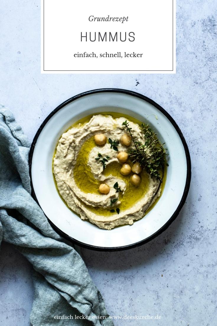 Hummus Grundrezept - einfache Kichererbsencreme - so geht's! #hummus #kicherbsen #kichererbsencreme #mezze #dip