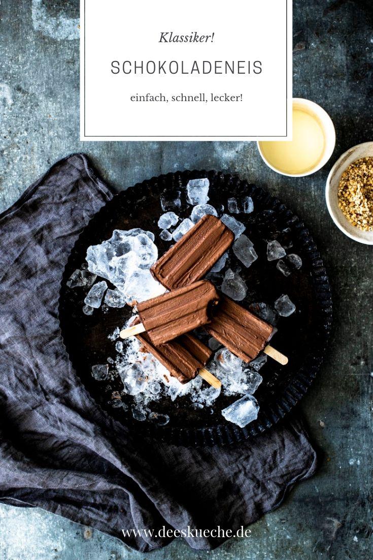 Schokoladeneis am Stiel - so einfach, so gut! #eis #eis #eisamstiel #eispops #sommer #schokolade #rezept #einfach #popscicles