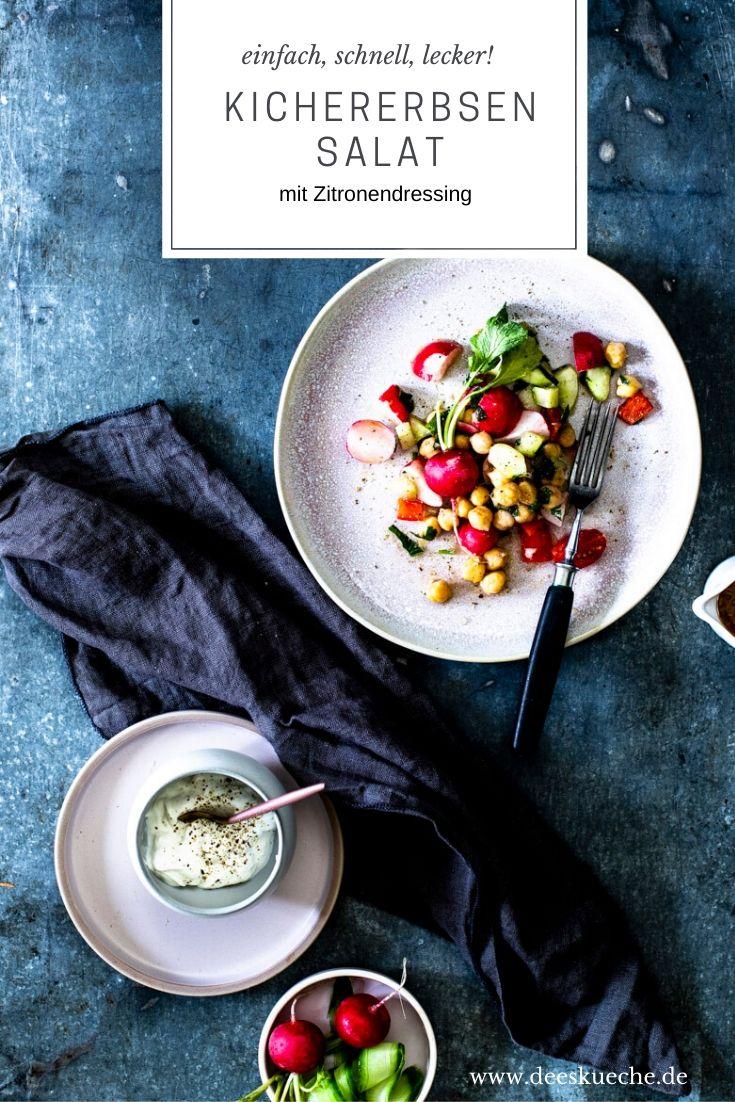Kichererbsensalat mit Zitronendressing - so einfach geht's #kichererbsensalat #chickpeas #kichererbsen #protein #salat vegetarisch #vegan #deeskueche #rezepte