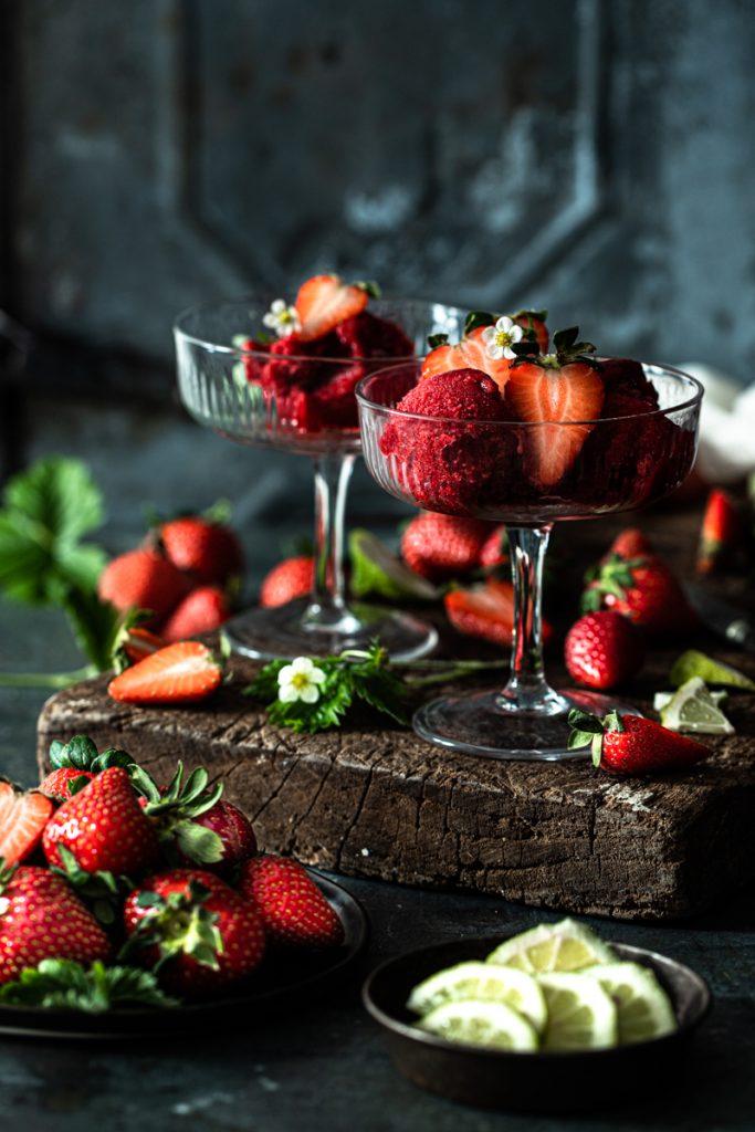 Erdbeersorbet ganz einfach selber machen