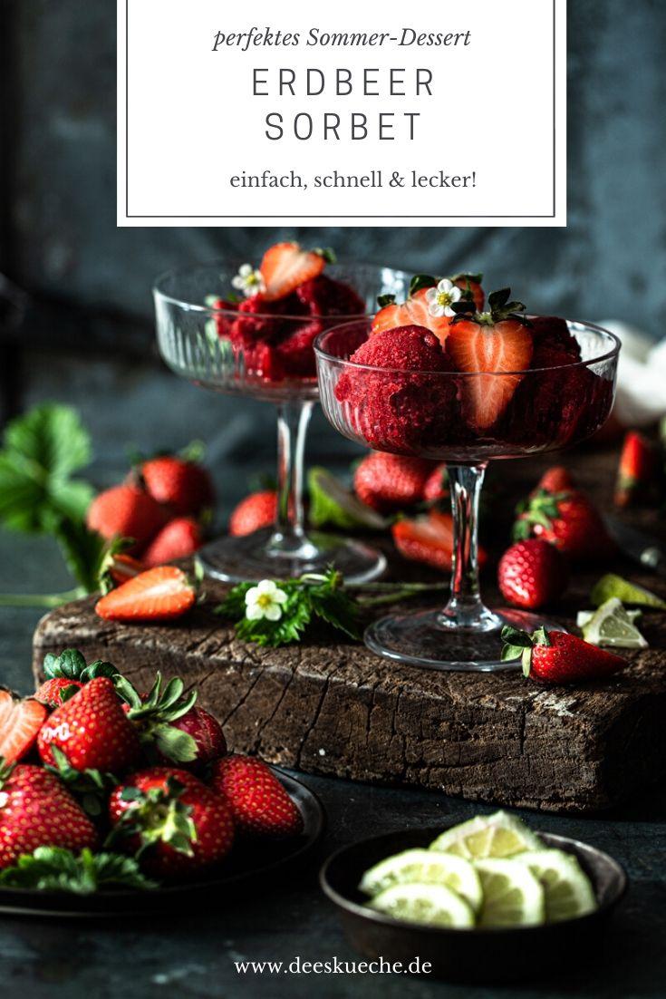 Erdbeersorbet ganz einfach selber machen #ohne eismaschine #rezepte #himbeer #erdbeer #rezepteohneeismaschine #sobet #erdbeersorbet #himbeersorbet