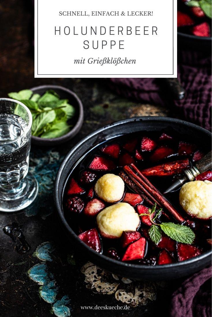 Holunderbeersuppe mit Grießklöschen und Apfelstückchen - norddeutscher Klassiker und ein einfaches Rezept! #Holunder #Holunderbeersuppe #Fiederbeeren #Fliederbeersuppe #Hollersuppe #Holundersuppe #Griess