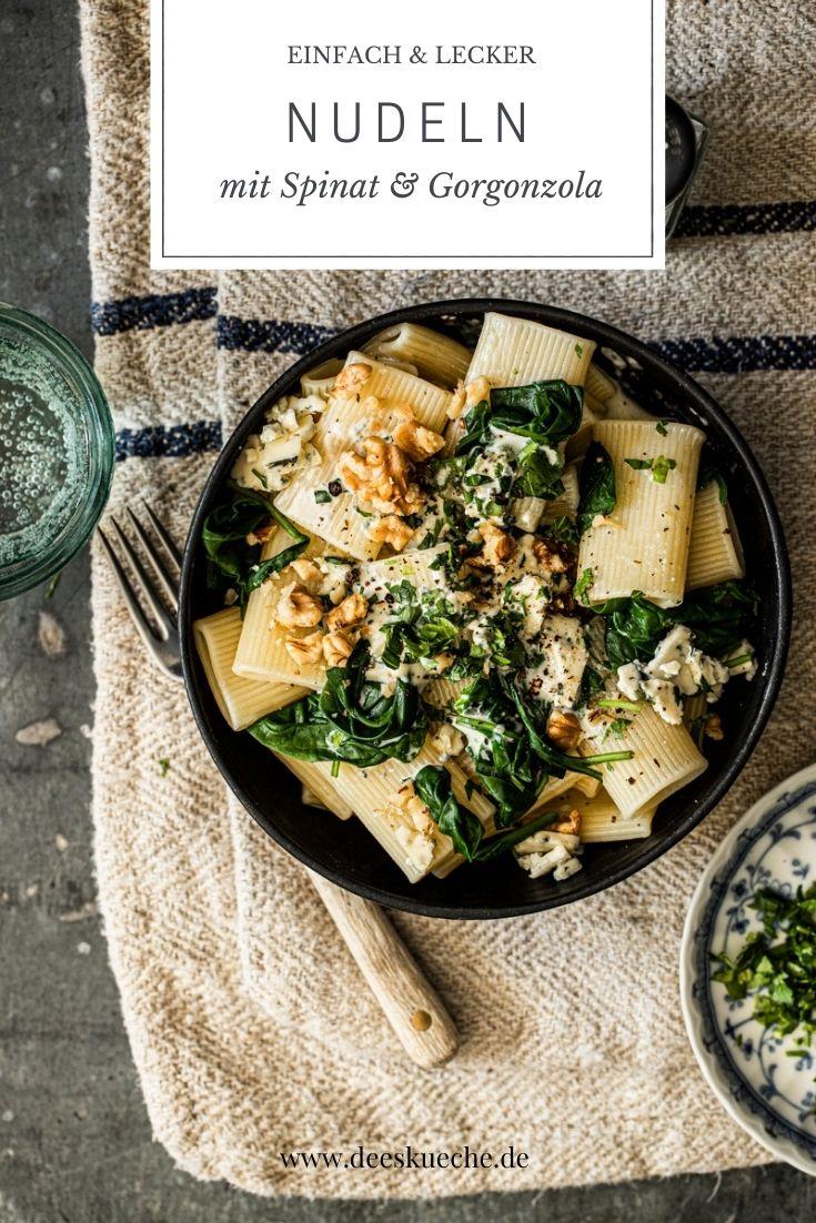 Nudeln mit Spinat und Gorgonzola - so einfach geht's! #gorgonzola #sahnesauce